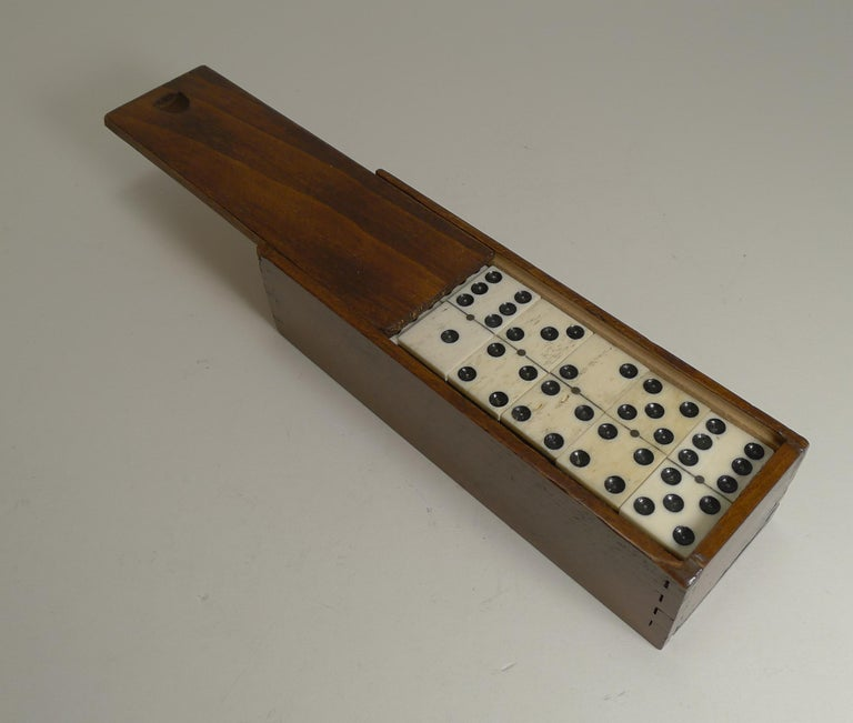 Edwardian Boxed Set Antique English Bone and Ebony Dominoes, circa 1910 For Sale