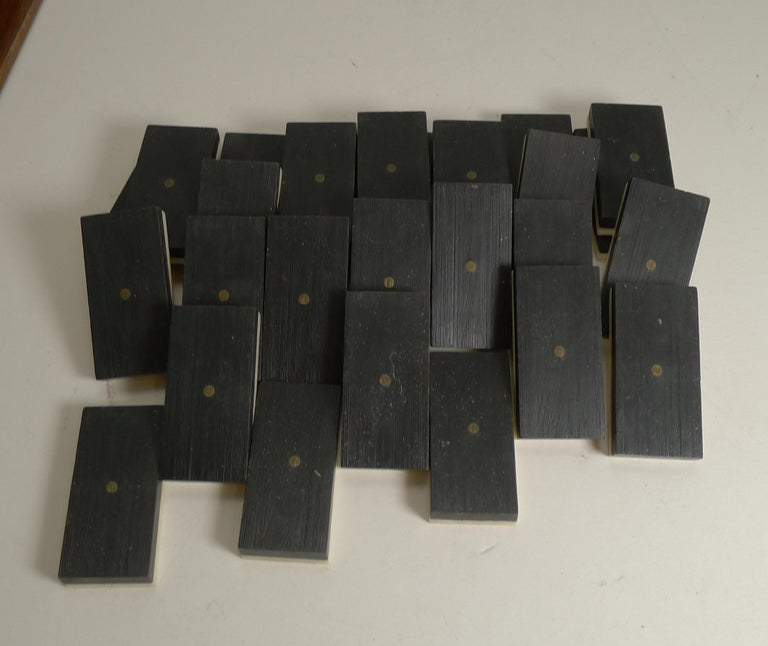 Boxed Set Antique English Bone and Ebony Dominoes, circa 1910 For Sale 1