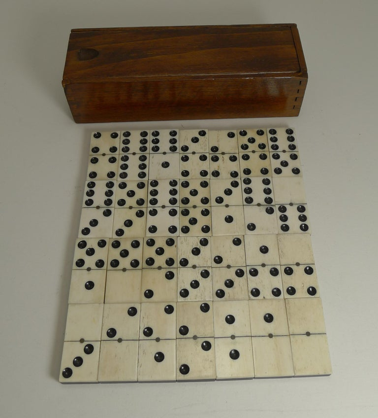 Boxed Set Antique English Bone and Ebony Dominoes, circa 1910 For Sale 2