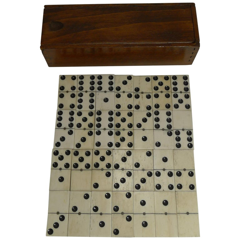 Boxed Set Antique English Bone and Ebony Dominoes, circa 1910 For Sale
