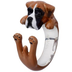 Boxer Dog Sterling Silver 925 Enamel Customized Ring