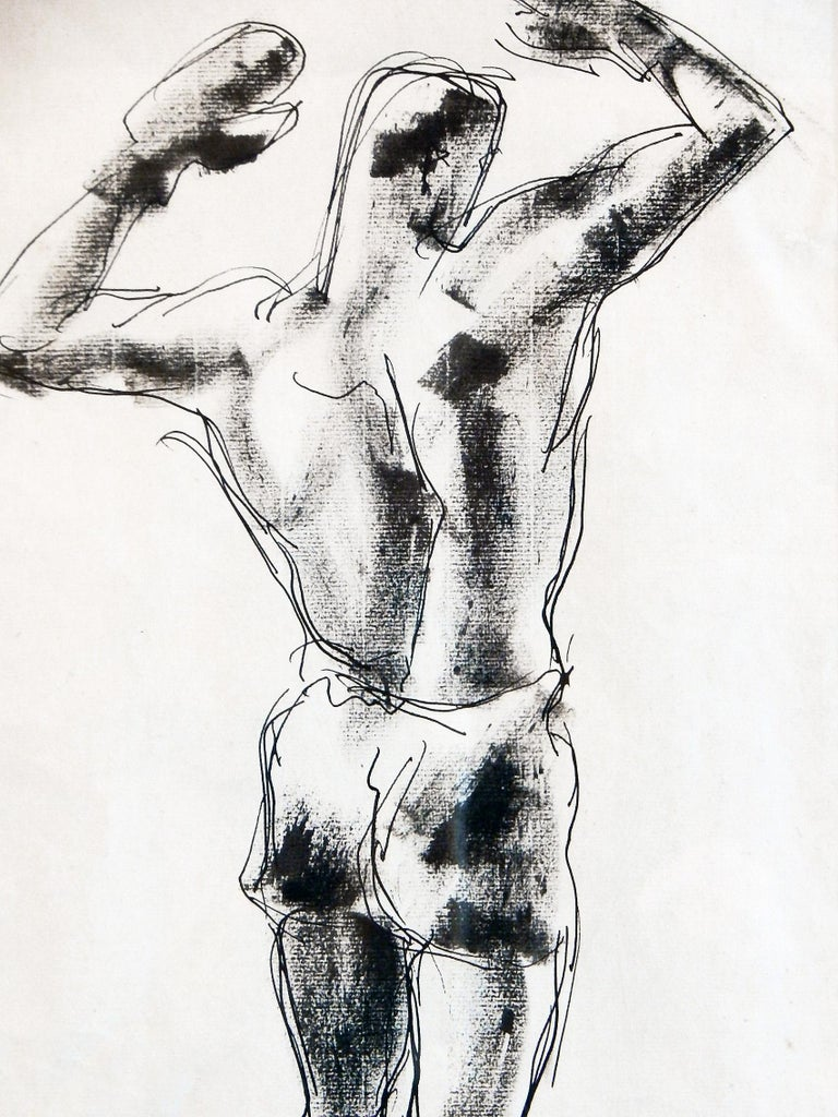 This 1929 vintage ink and inkwash drawing of a bare-chested boxer is turned away from the viewer, his gloved hands raised high as if the fight has just been won. The artist, William Littlefield, was fascinated by the male figure and produced many