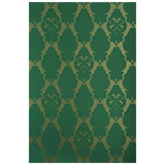 'Boxing Hares' Contemporary, Traditional Wallpaper in Billiard Green