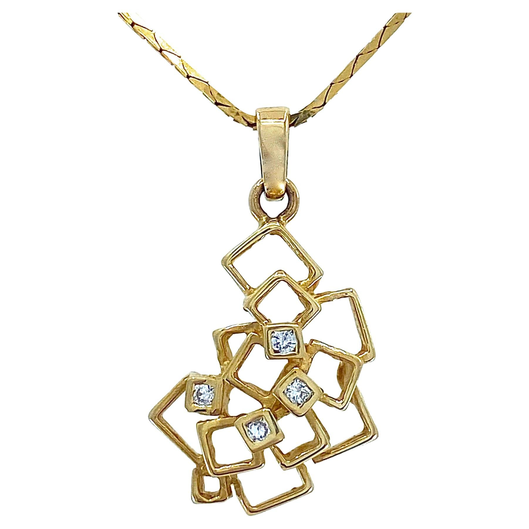 """""""Boxy Cascade"""" Pendant in Yellow Gold with Diamonds on Gold C-Link Chain"""