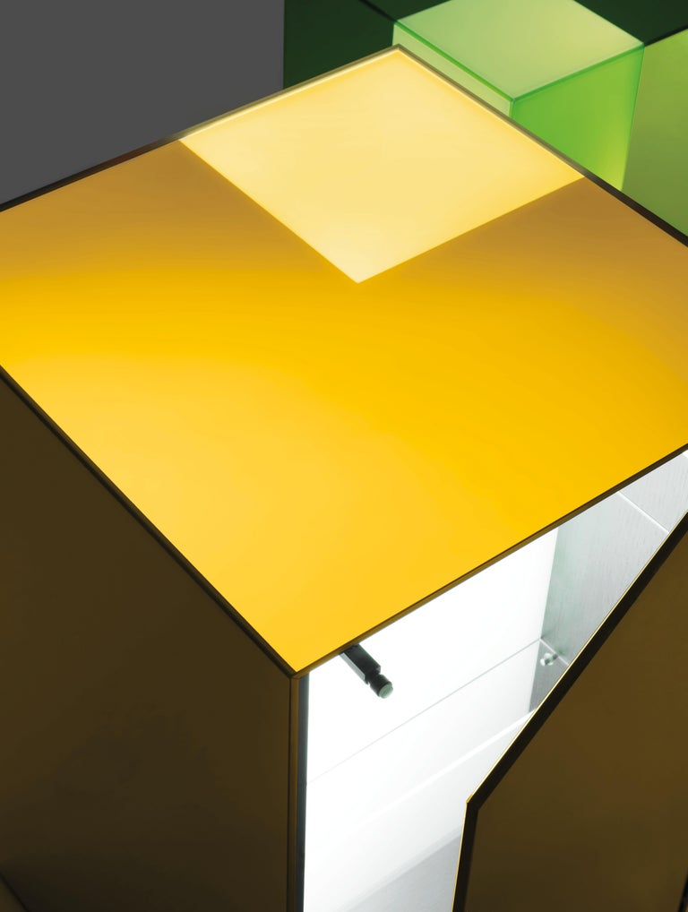 Modern Boxy Small Storage Unit in Sunny Yellow Glass by Johanna Grawunder, Glas Italia For Sale
