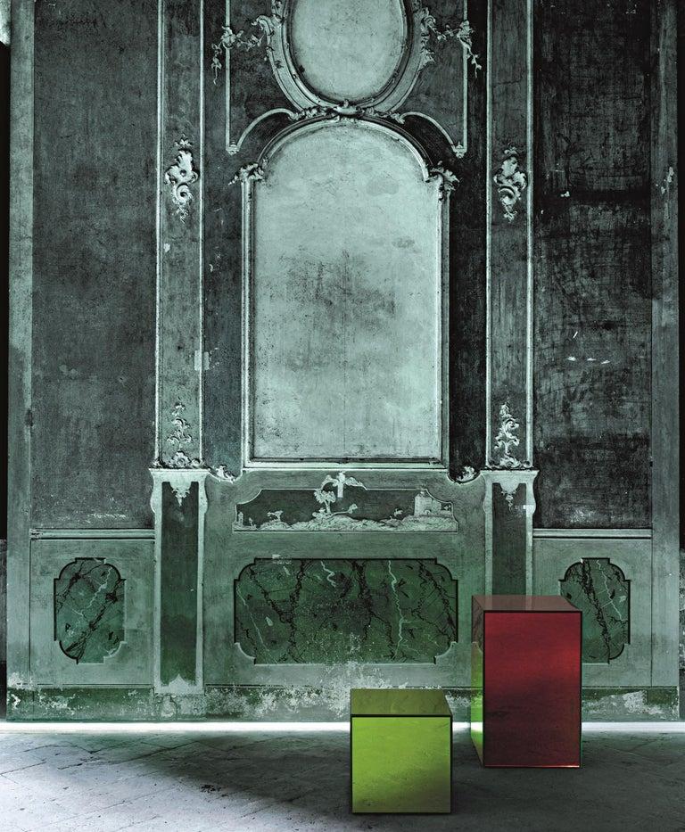 Italian Boxy Small Storage Unit in Sunny Yellow Glass by Johanna Grawunder, Glas Italia For Sale