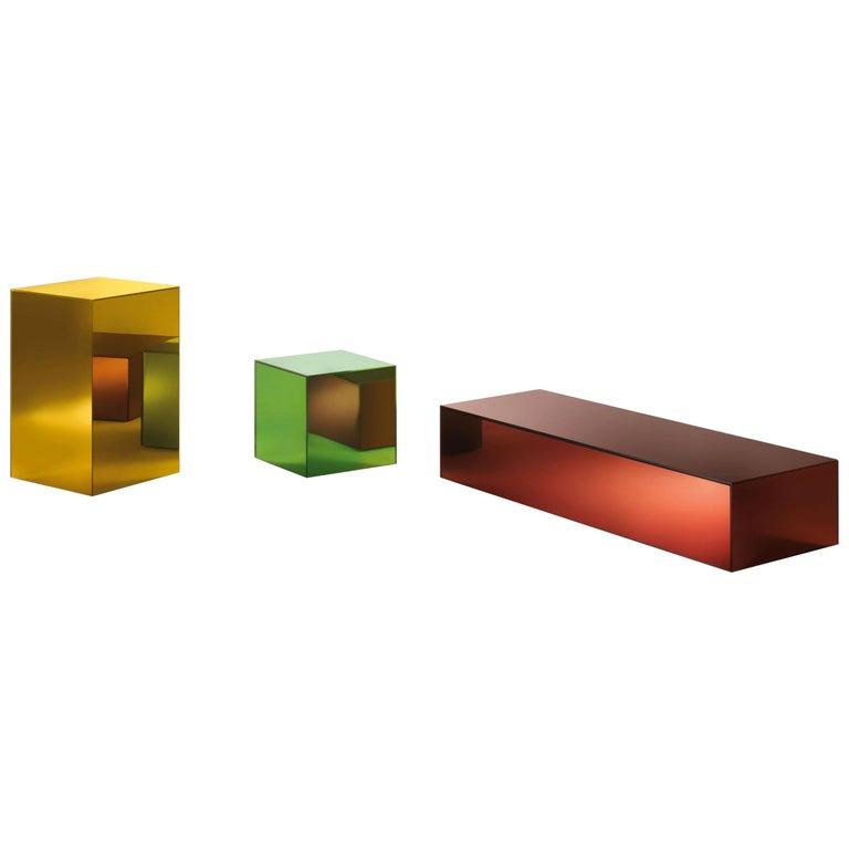 Boxy Small Storage Unit in Sunny Yellow Glass by Johanna Grawunder, Glas Italia For Sale