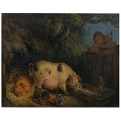 """Boy and Pigs Sty"" British Antique Oil Painting, Circle of George Morland"