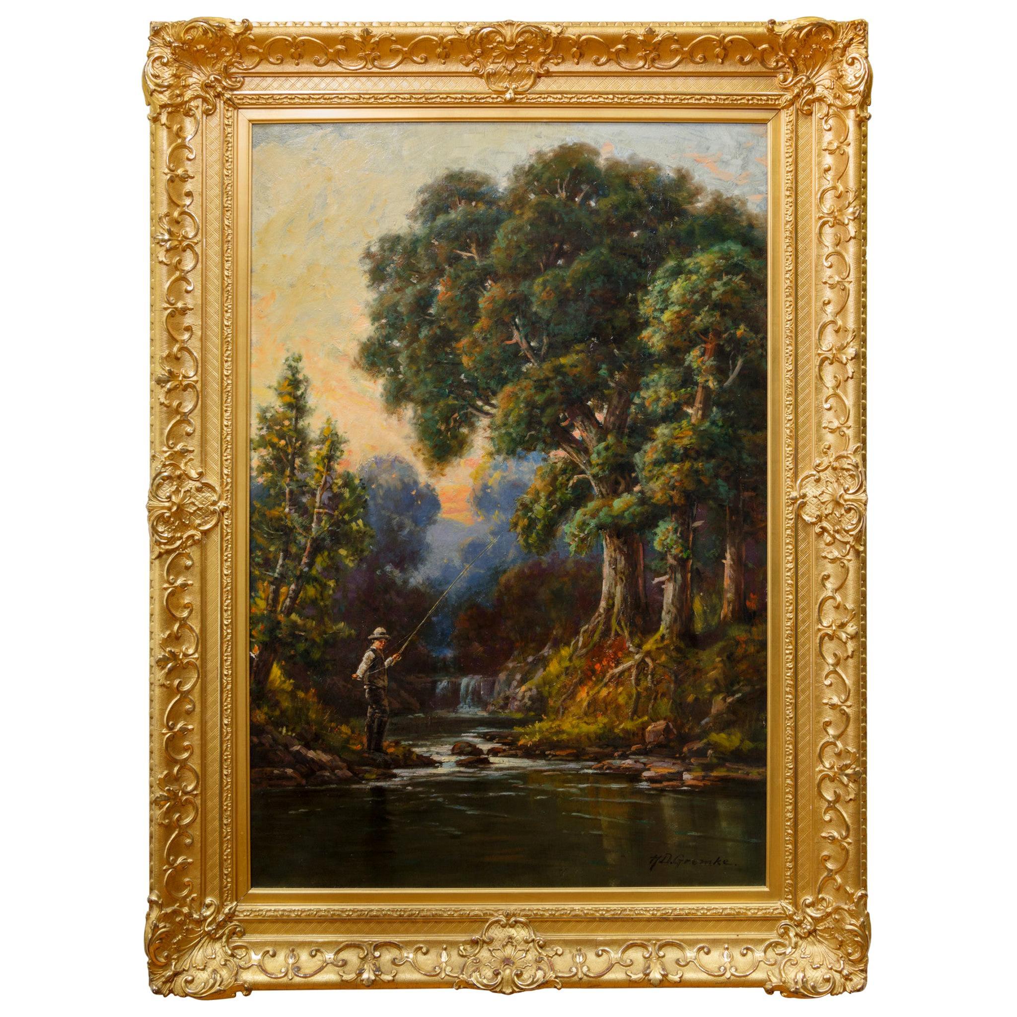 """Boy Fishing in Calm Stream"" Original Oil Painting by Deidrich Henry Gremke"