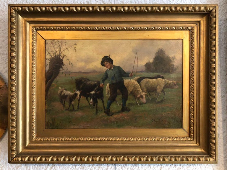 English Boy Shephard Oil on Canvas Painting, England For Sale