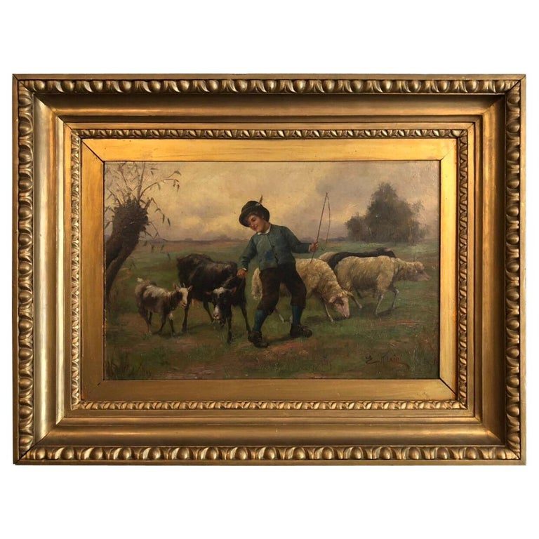 Boy Shephard Oil on Canvas Painting, England For Sale