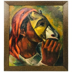 """Boy with a Mask"" Oil on Board by Well Listed Spanish Artist Jose Vela Zanetti"