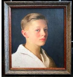 """Boy with Blue Eyes,"" Portrait Masterwork, Oil on Canvas by William Paxton"