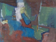 Mid-century modern abstract oil painting by American artist Boyer Gonzales Jr.