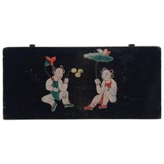 """Boys Beneath Lotus"" Chinese Folk Painted Panel, circa 1850"
