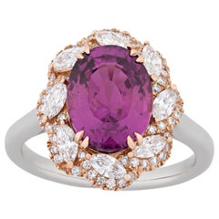 Boysenberry Sapphire and Diamond Ring, 4.44 Carat