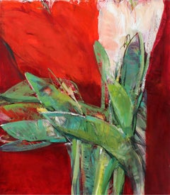 Red table - XXI century, Oil painting, Abstract-figurative, Flowers, Vibrant red