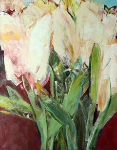 Triptych II - XXI century, Oil painting, Abstract-figurative, Flowers, Vibrant
