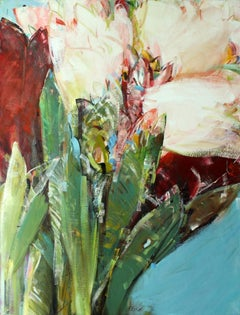 Triptych III - XXI century, Oil painting, Abstract-figurative, Flowers