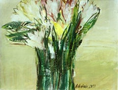 Tulips - 21 century, Oil painting, Abstract-figurative, Flowers, Muted colors