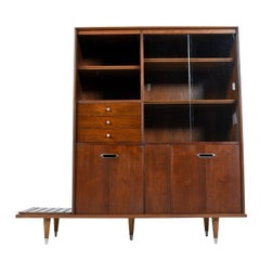 B.P. John Two-Piece Asian Modern Walnut China Hutch with Bench or Planter