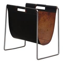 Brabantia Black Leather 1970s Magazine Stand
