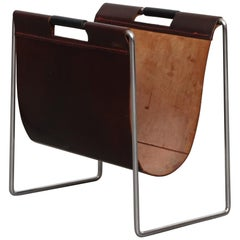 Brabantia Burgundy Leather and Chrome Magazine Stand