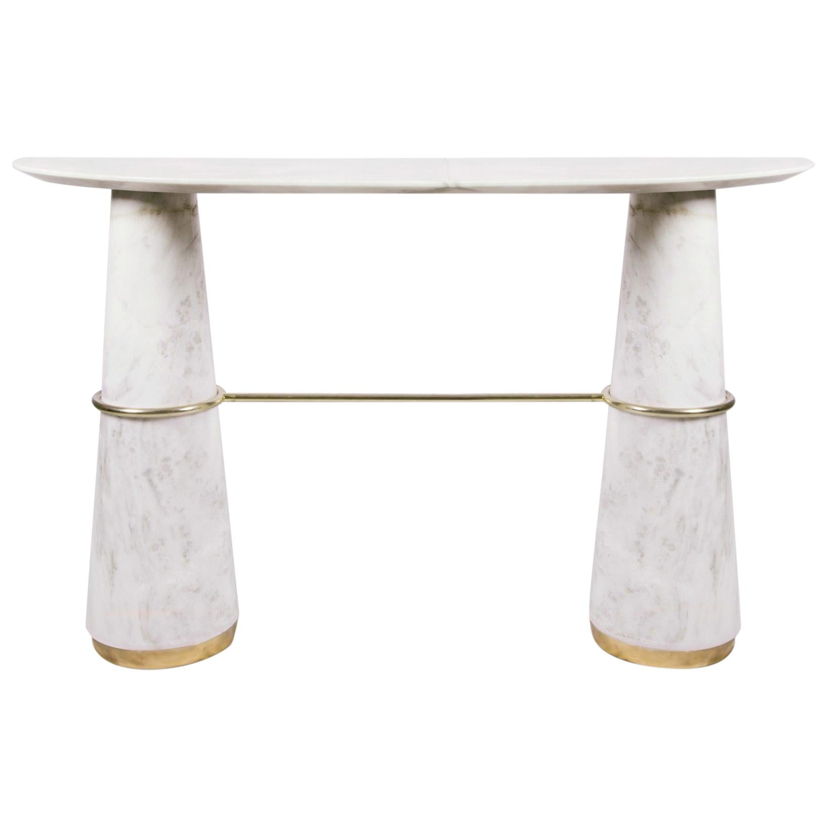 Agra Console Table in Estremoz Marble with Brass Details