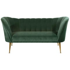 Brabbu Andes Sofa in Emerald Cotton Velvet with Brass Details