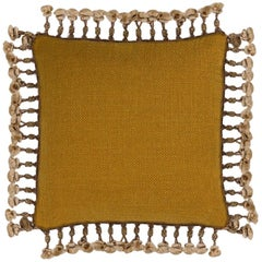 Brabbu Anise Pillow in Mustard Twill with Fringe