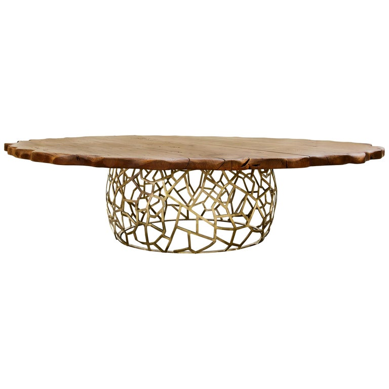 Apis II Dining Table in Brass with Large Wood Top For Sale