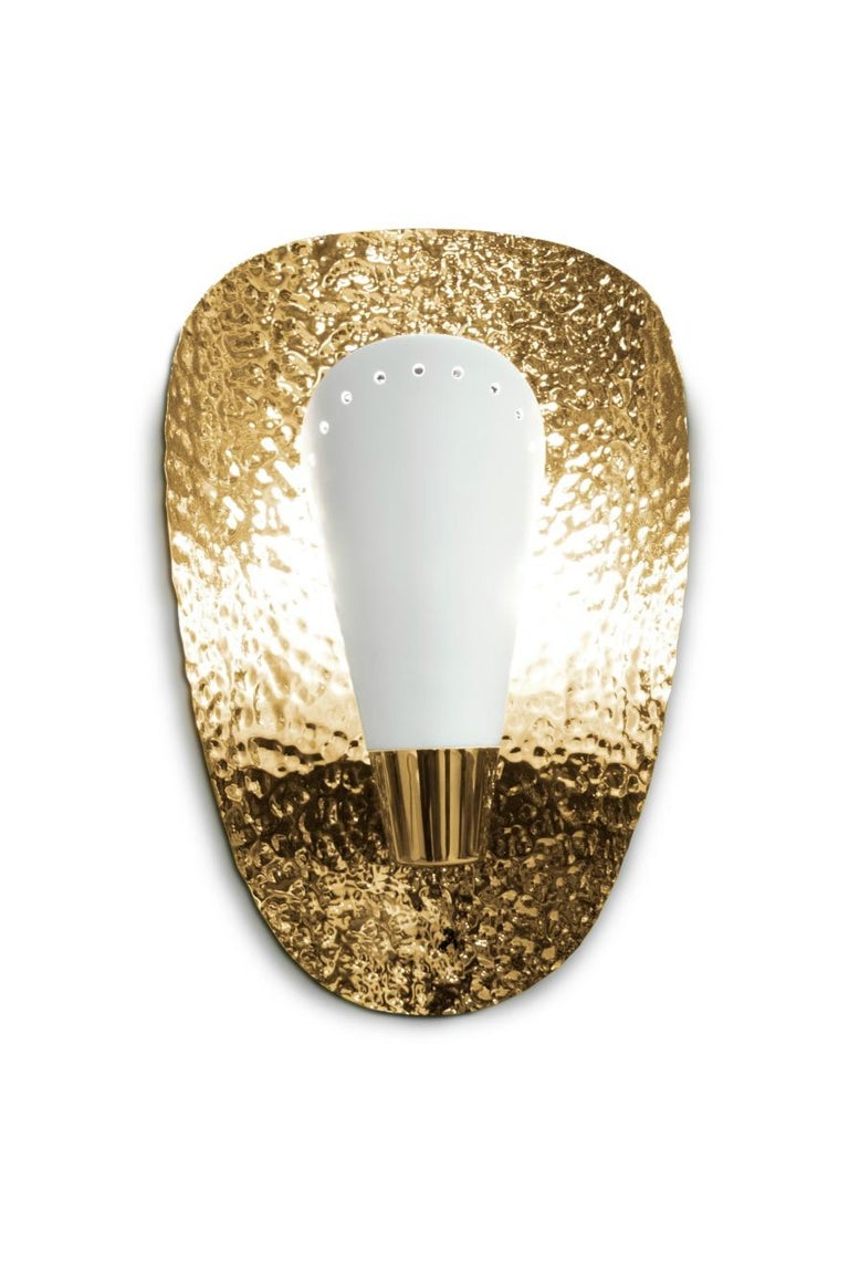 Mid-Century Modern Aruna Sconce with White Shade in Hammered Brass Shell For Sale