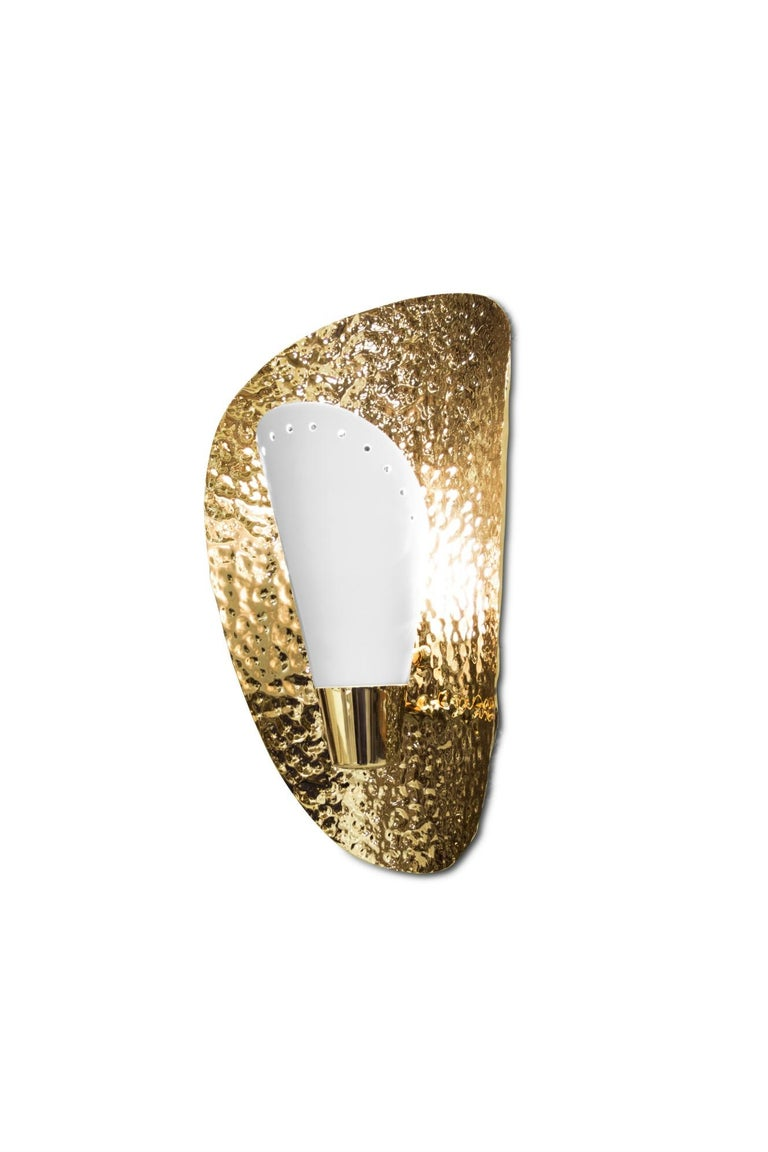 Portuguese Aruna Sconce with White Shade in Hammered Brass Shell For Sale