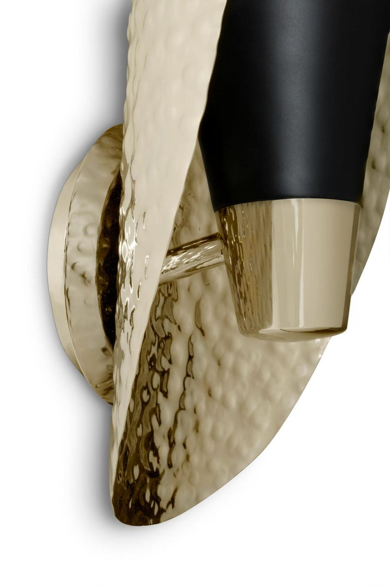 Aruna Sconce with White Shade in Hammered Brass Shell For Sale 2