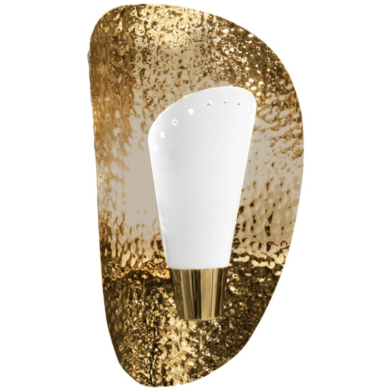 Aruna Sconce with White Shade in Hammered Brass Shell For Sale