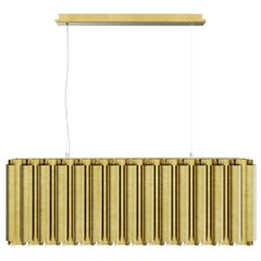 Brabbu Aurum I Rectangular Pendant Light in Matte Hammered Brass