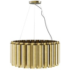 Brabbu Aurum II Round Pendant Light in Matte Hammered Brass