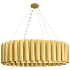 Brabbu Aurum III Oval Pendant Light in Matte Hammered Brass