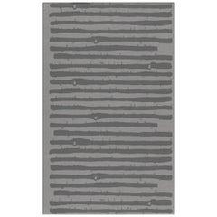 Brabbu Aymara Handgetufteter Tencel Teppich in Grau mit Streifen