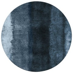 Baltic Circular Hand-Tufted Dyed Wool Rug ii in Blue Gradient