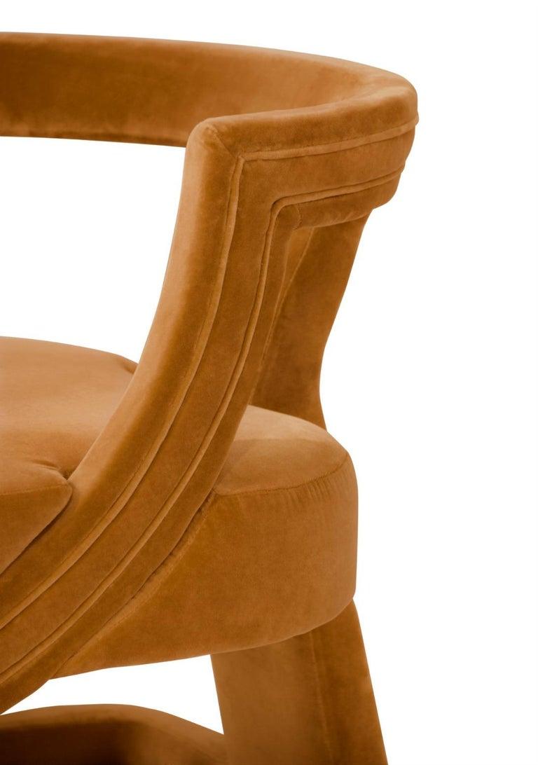 Contemporary Batak Bold Armchair in Cotton Velvet For Sale
