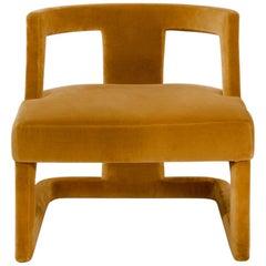 Brabbu Batak Bold Armchair in Mustard Velvet
