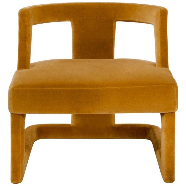 Batak Bold Armchair in Cotton Velvet For Sale