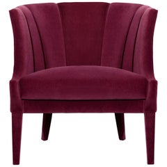 Begonia Armchair in Cotton Velvet and Fully Upholstered Legs