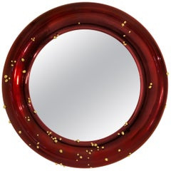 Brabbu Belize Mirror in Red with Polished Brass Detail