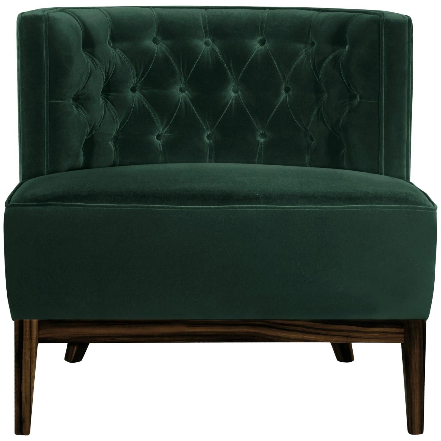 Bourbon Armchair in Cotton Velvet and Ebony Wood Varnished Legs