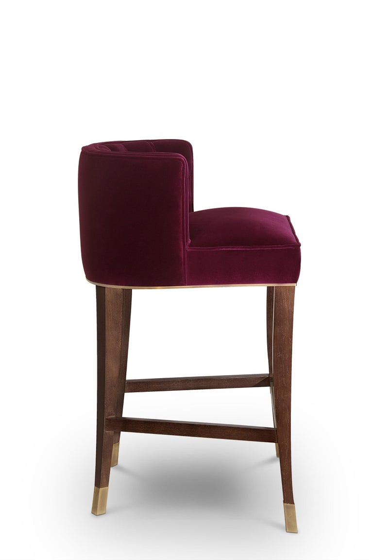 Mid-Century Modern Bourbon Counter Stool in Cotton Velvet And Aged Brass Details For Sale
