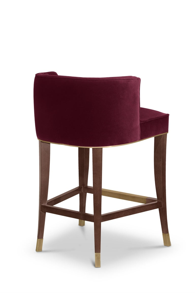 Portuguese Bourbon Counter Stool in Cotton Velvet And Aged Brass Details For Sale