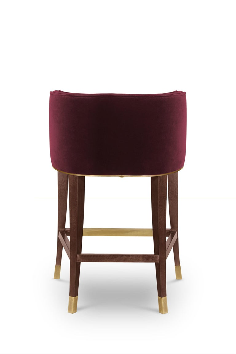 Bourbon Counter Stool in Cotton Velvet And Aged Brass Details In New Condition For Sale In New York, NY