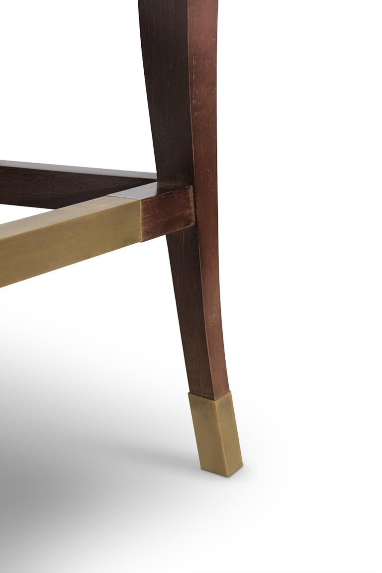 Contemporary Bourbon Counter Stool in Cotton Velvet And Aged Brass Details For Sale